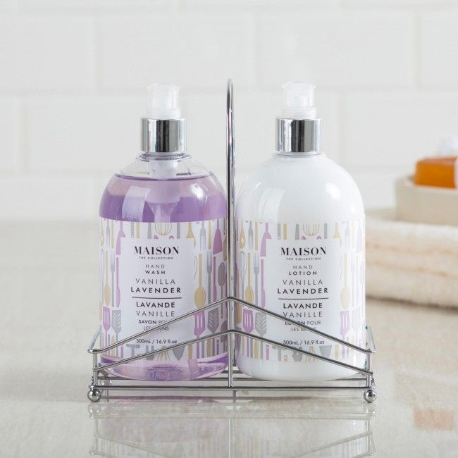 This beautifully crafted caddy set enhances your decor and is a stunning gift for any occasion. The hand wash and lotion feature the beautiful scents of Tahitian vanilla and French lavender.