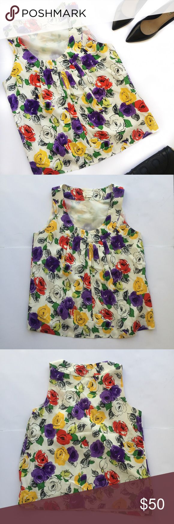 Kate Spade Floral Top Kate Spade sleeveless top with vibrant flowers of various colors on a cream background; perfect condition kate spade Tops