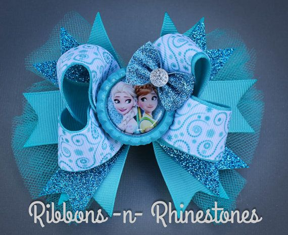 FROZEN Hair Bow, layered boutique hair bow, bottlecap bow, over the top bow, stacked bow, elsa and anna, little girl bow