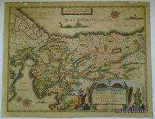 ORIGINAL !! BLAEU MAP 1629 HOLY LAND COLORED JEWISH ART JUDAICA ISRAEL PALESTINE