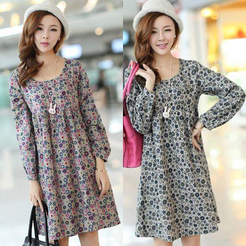 5 Boyutları, Plus Size S-XXL Moda Çiçek Annelik Elbiseler Hamile Kadınlar Gevşek Annelik Tek parça Elbise Giyim, İlkbahar / Sonbahar