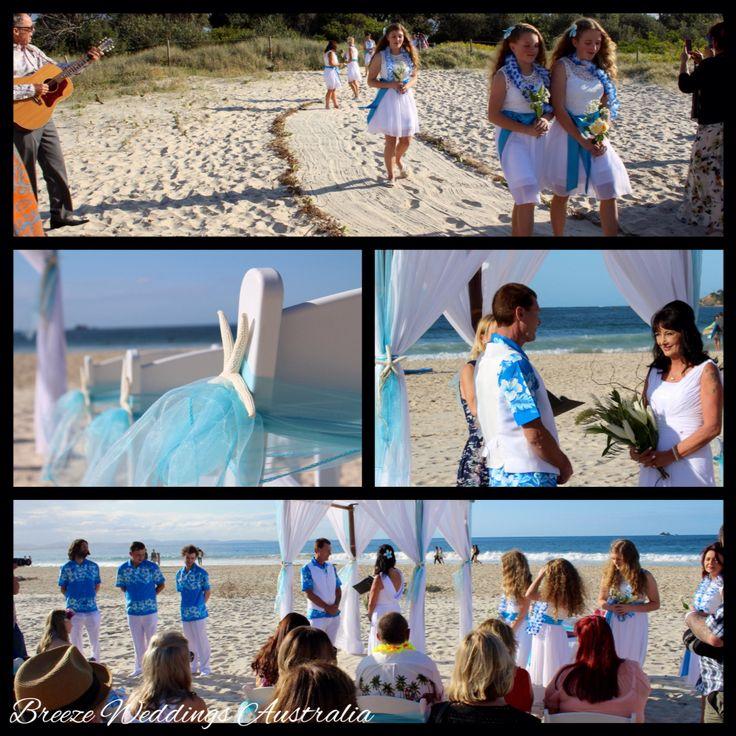 Aqua blue Hawaiian ceremony  at Byron Bay #breezeweddings #byron #bay #beach #wedding #ceremony #aqua #blue #hawaiian #style #theme #australia #ideas #bright #colours #blue #shirts #white #pants #groomsmen #groom #lovemyjob #свадьба #гавайская #тематика #голубые #рубашки #белые #брюки #жених #друзья #жениха #идеи #яркие #цвета #пляж #любимаяработа