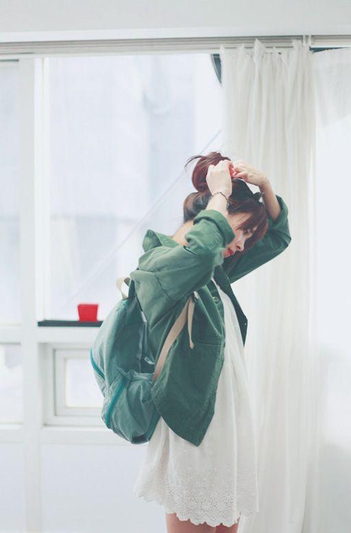 dress w/green jacket