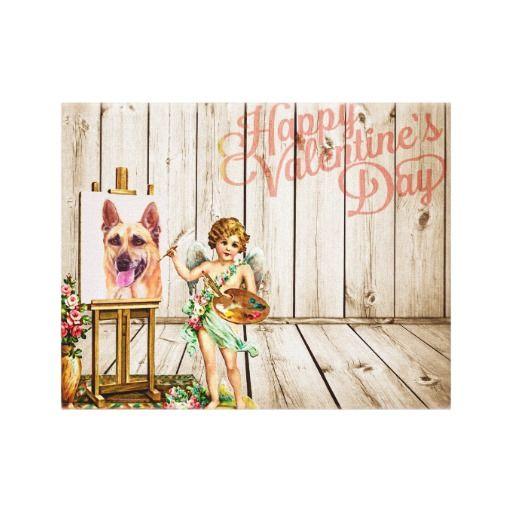 #GermanShepherd Dog #Valentine's Day #Vintage #Love #Canvas Print #gsd