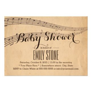 musical Baby Shower Themes | Vintage Music Notes Musical Baby Shower 5x7 Paper Invitation Card