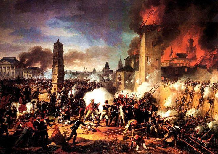 Attaque et prise de la ville de Ratisbonne par le maréchal Lannes le 23 avril 1809. Peinture de Charles Thévenin