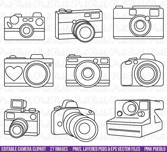 Camera Clipart Clip Art, Photography Logo Elements, Layered Editable PSDs and Vectors