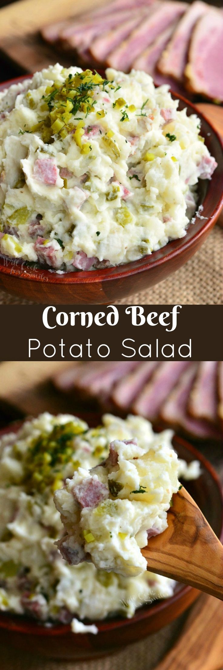 Corned Beef Potato Salad. This delicious potato salad made with tender corned beef brisket and crunchy dill pickles.