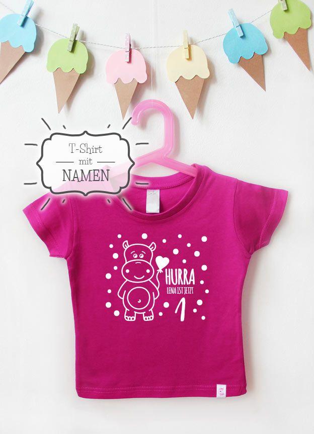 Geburtstagsshirt Namen Hippo 1 Jahr Pink Weiss Kindershirt