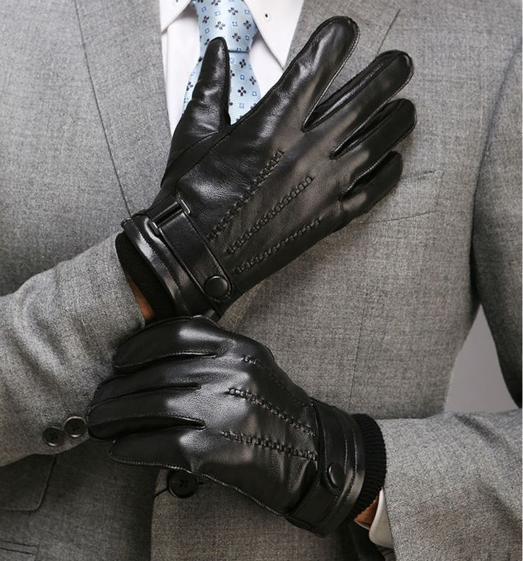 ==> [Free Shipping] Buy Best Men's Genuine Leather Glove Winter Short Black Suede Glove Fashion Female New Guante de cuero 1 Pair/lot Online with LOWEST Price | 32567051821