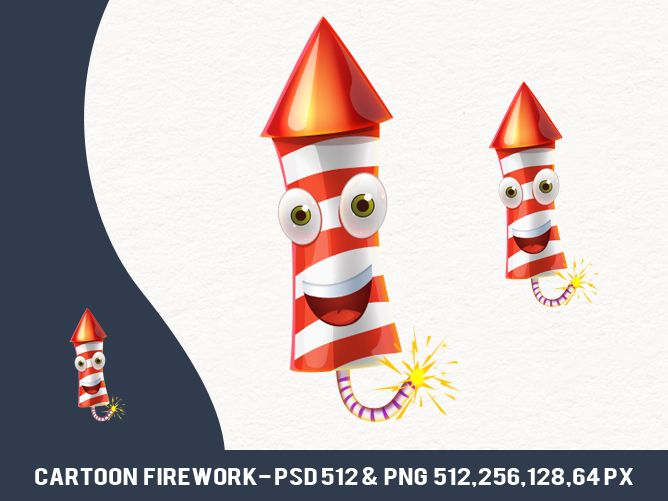 Free Cartoon Firework http://pixaroma.com/2013/12/free-cartoon-firework/