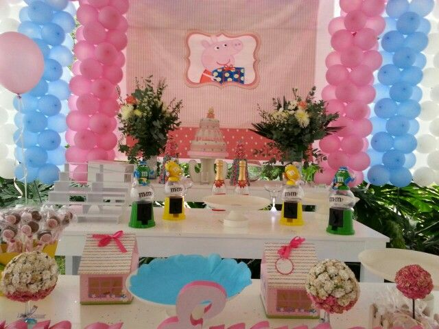 Decoracion candy bar fiesta peppa pig de cumplea o y for Decoracion fiesta bautizo