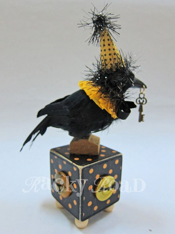 halloween decoration raven with key and party hat by rackyroadhttpwwwetsy - Raven Halloween Decorations