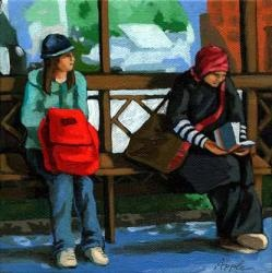 Waiting at the bus stop - Linda Apple: Apples Art, Women Reading, Art Reader, Art Photography, Art Journals, Soul Pancakes, Art Collection, Bus Stop, Linda Apples