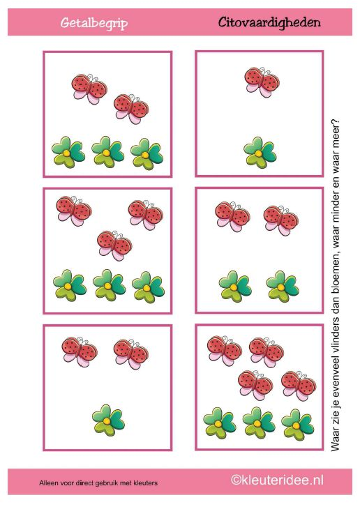 Waar zie je evenveel vlinders dan bloemen, waar minder en waar meer? [kleuteridee.nl]
