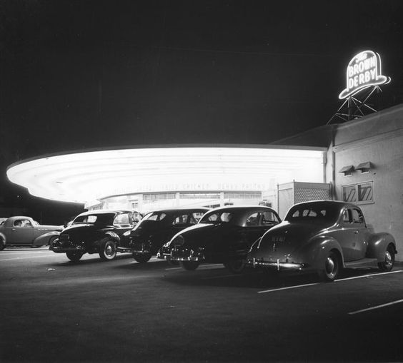 Two of my favorite types of vintage Los Angeles photos are of a Brown Derby restaurant and of a terrific use of neon light. So finding this one makes my heart go pitty-pat. This is the Brown Derby restaurant we don't often see in old photos — the one at 4500 Los Feliz Boulevard. Judging from the cars parked outside, this photo is circa 1947. The building is still there, and still a restaurant, which is more than can be said for the other Brown Derby locations.