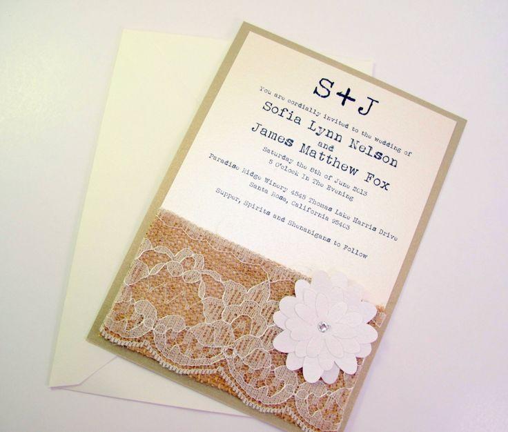 Homemade WEDDING INVITATIONS USING BURLAP | Wedding Invitations Sundays:  Burlap Wedding Invitations · Rustic Chic ...