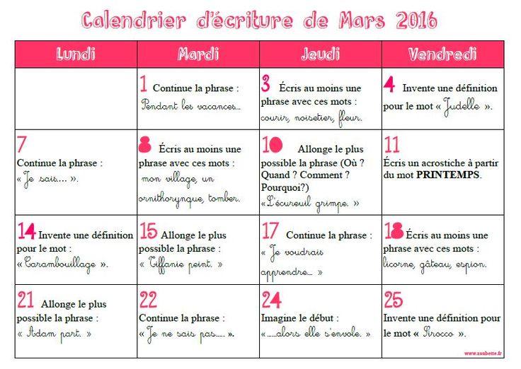 Calendriers d'écriture CE1 2015-2016