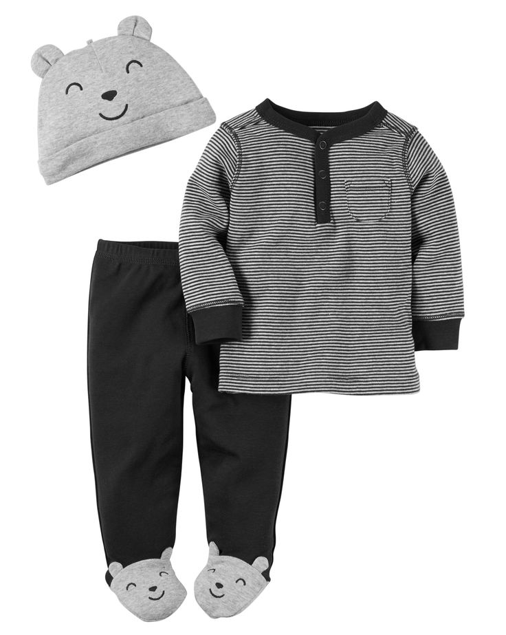 With built-in character footies, these cute babysoft cotton pants keep him cozy from head to toe with a matching henley and cap to top it off!