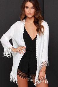 Lace top chiffon fringe dress
