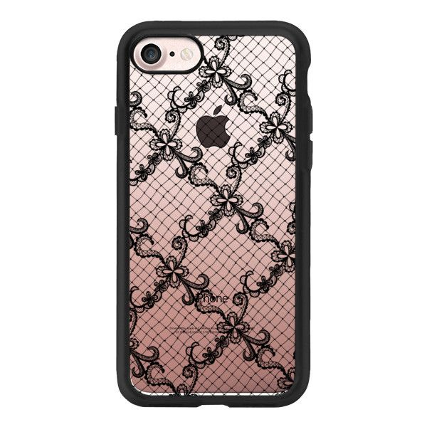 Gothic Hand Drawn Black Floral Lace and Fishnet Pattern - iPhone 7... ($40) ❤ liked on Polyvore featuring accessories, tech accessories, phone, phone cases, iphone case, pattern iphone case, clear floral iphone case, iphone cases, apple iphone case and iphone cover case