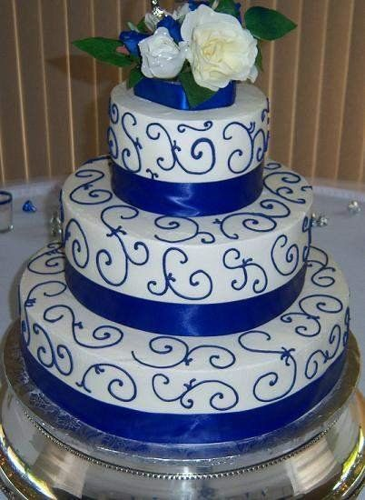 White And Blue And Gold Cake   Blue and Gold Wedding Cakes   Royal Blue and Silver Wedding Cakes ...