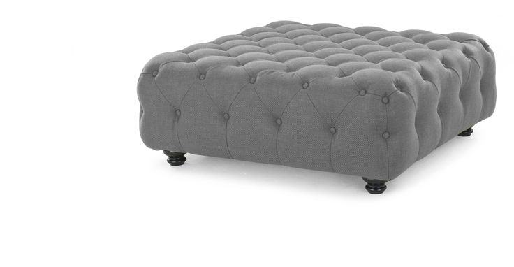 The Branagh grey large footstool is a contemporary take on traditional British design.