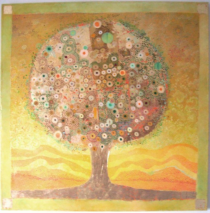 Darius Gilmont, Tree of Life 80cmx80cm Oil on Canvas