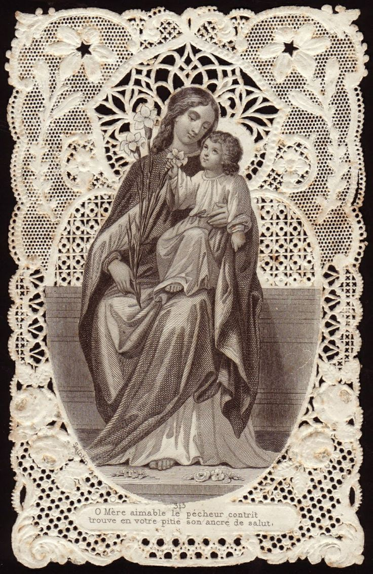 Antique French Lace Holy Card ... Mary Infant Jesus
