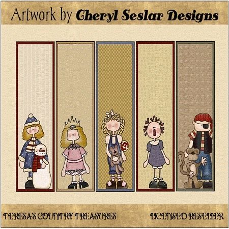 Whimsical Kids Bookmark Printables from Cheryl Seslar Designs includes country primitive bookmarks with children raggedy anne snowmen bears and monkeys.  Click profile link to
