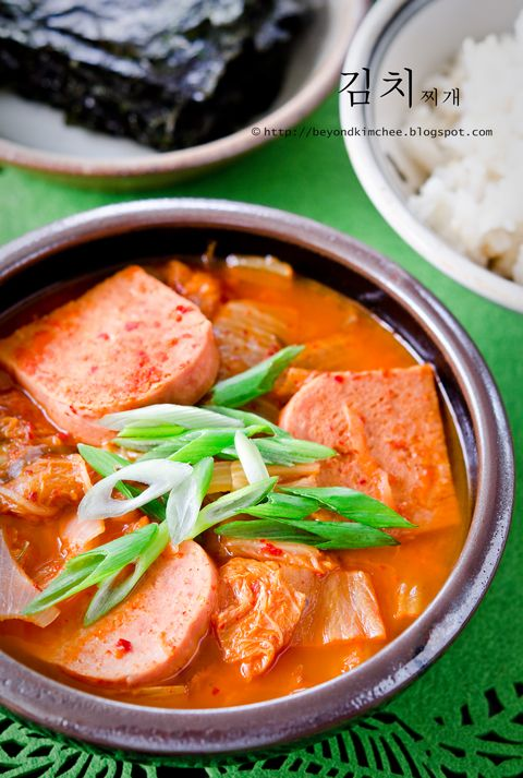 Stew II (Kimchee Jjigae) ((Made with kimchi, onion, spam, and chicken ...