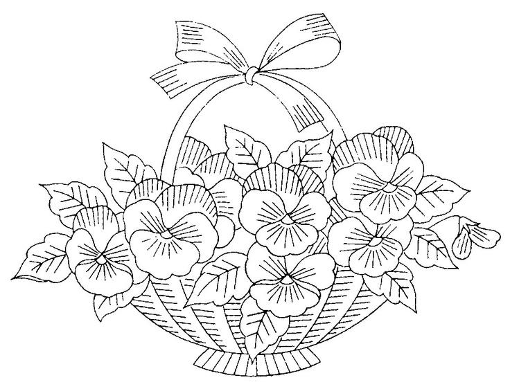 Free Flower Basket Embroidery Designs : Floral basket embroidery or redwork designs