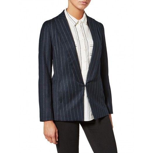 Sisley - Giacca maniche lunghe in flanella di misto lana, con rever a lancia e chiusura frontale con gancio. Ideale portata sopra a una blusa con rouches, per un look elegante e femminile.