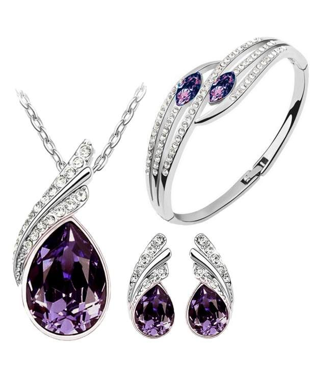 Purple Austrian Crystal Necklace Set Combo with Crystal earrings and elegant crystal bracelet, http://www.snapdeal.com/product/purple-austrian-crystal-necklace-set/956282242