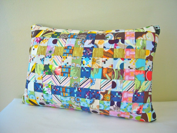 Woven Fabric Prints Pillow with Ombre Blue Linen Back by bvann, $50.00
