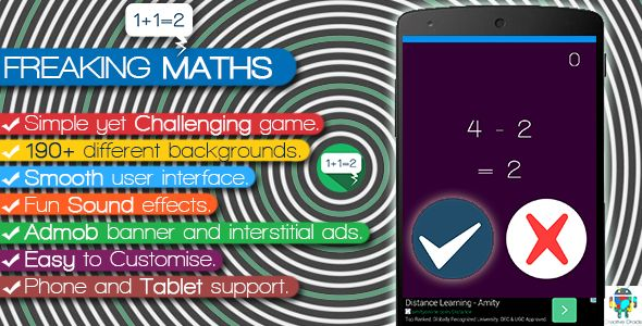 "Freaking Math http://codecanyon.net/item/freaking-math/8498915?ref=damiamio ""FREAKING MATHS"" as the name suggests, even simple Mathematics under some 'constraints' may sometimes freak you out..! The Rules of the game are Simple: Very simple equations will be shown on the screen and you have to tell if it is correct or not. 1 second is given for each equation. Reach high score!!! Beat your friend's score!!! Updates First Update Added Share button since many buyers requested for that. Updated…"