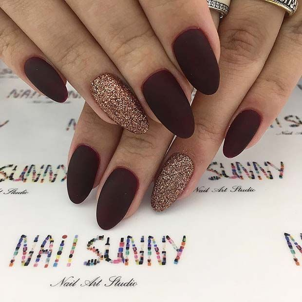 Matte Burgundy And Gold Glitter Nail Design Absolutely Stunning Gold Glitter Nails Simple Fall Nails Burgundy Nails
