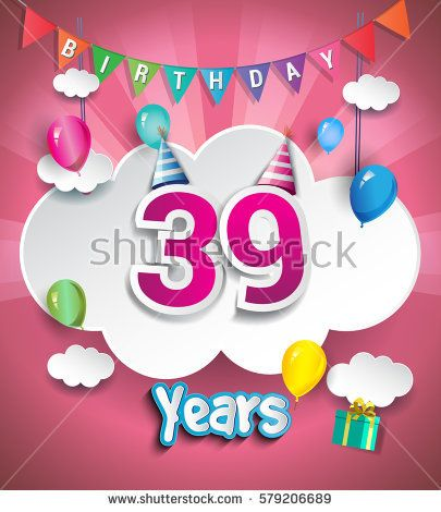 39th Anniversary Celebration Design, with clouds and balloons. using Paper Art Design Style, Vector template elements for your, thirty nine years birthday celebration party.