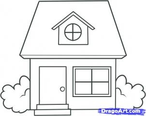 how to draw a house - Simple Drawing House