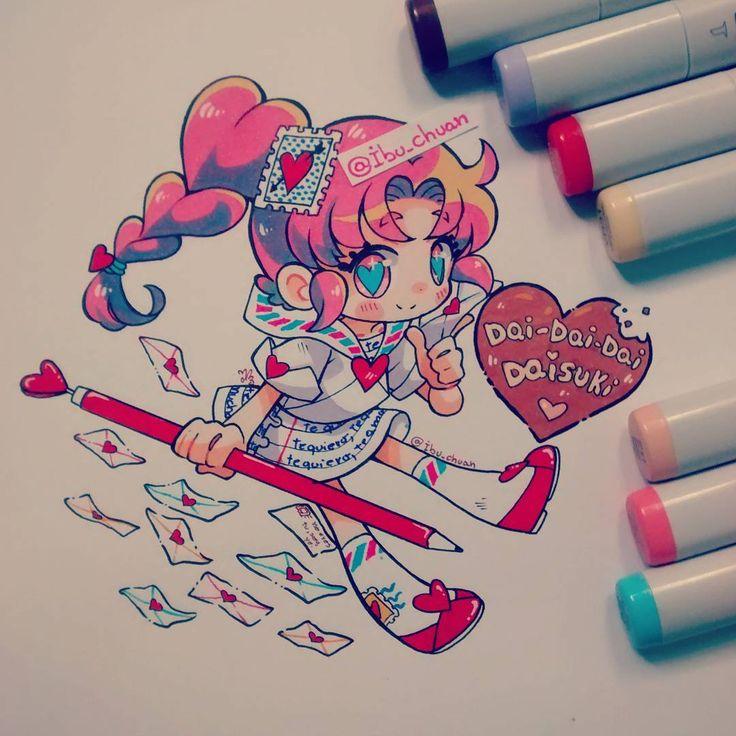 Feliz san valentin Este año quise hacer una personificación de una carta de amor pal sempai/amor de tu vida ... O por ultimo, tu amor de verano, esos que les dan como 7 veces en un mes XD (?) #chibi #valentines #sanvalentine #valentineday #kawaii #moegirl #cute #anime #mangastyle #amor #love #heart #corazones #cartadeamor #traditional #copic
