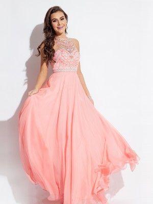 A-Linie/Princess-Stil Ärmellos Juwel-Ausschnitt Chiffon Perlenstickerei Sweep/Pinsel Zug Kleider - Ballkleider - BelleDress.de