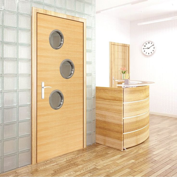 JBK Porthole 3 SP Eco Colour Miel Honey Oak Painted Fire Door is Pre-finished - 30 Minute Fire Rated, this door will provide good fire safety for your office. #officedoor #modernofficedoor #portholesofficedoor