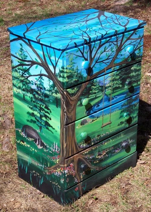 Chest of drawers with a swing