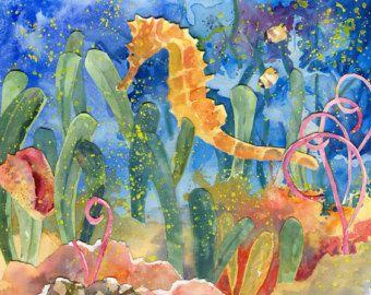 Subacqueo cavalluccio marino, pesce ed e conchiglie, acquerello paesaggio marino dipinto stampa