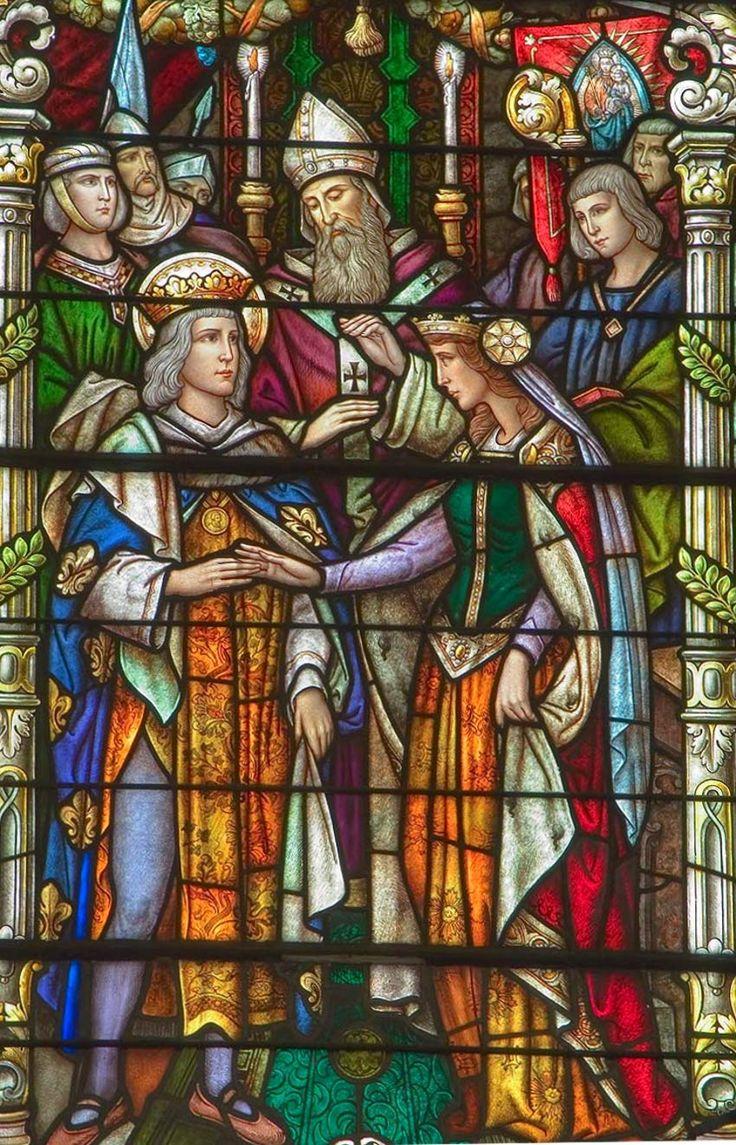 Mariage de Saint Louis, roi de France, et de Marguerite de Provence, vitrail de la cathédrale Saint-Louis de la Nouvelle-Orléans