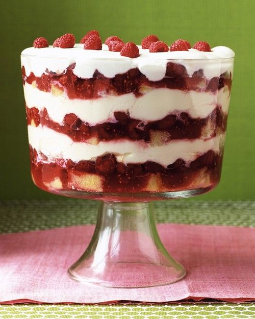 Grand Raspberry Trifle (This is what they serve in Heaven!) English trifle can be made in one large dish or several small dishes. Ours combines fruit, jam, juice-drenched pound cake, and whipped cream