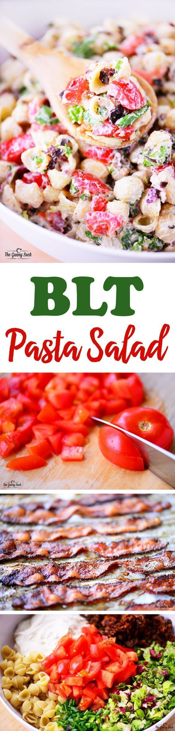 This BLT Pasta Salad features creamy dressing, crunchy bacon, crisp lettuce and fresh tomatoes! It's a popular summer salad recipe for a backyard cookout! (via partnership with #BushelBoyTomatoes)