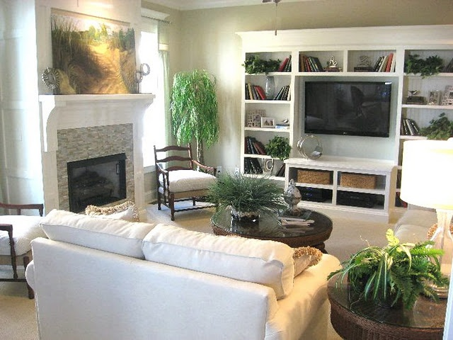 Must see home tour blue river cottage home tvs and - Living room layout fireplace and tv ...
