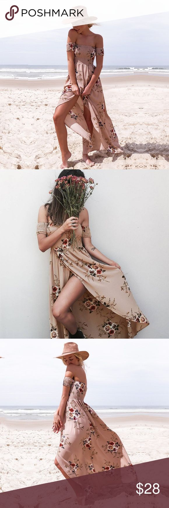 Off Shoulder Floral Asymetrical Dress This is a NEW item. Elegant, Feminine, Beachy, Floral Print; Off Shoulder; Elastic Bodice and Sleeve; Polyester,  Spandex and Cotton; Asymmetrical; Natural Waistline; Front Slit; Partial Lining; Ankle Length  Note: Khaki color only available. Dresses Asymmetrical