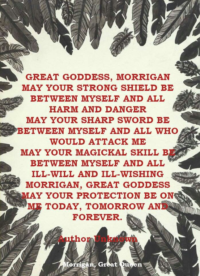 Prayer to the Morrigan with crow feathers as a border..
